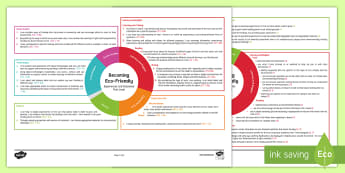 Becoming Eco-Friendly First Level CfE IDL Topic Web - Planner, plan, planning, overview, cross-curricular, 1st level, environmental,Scottish