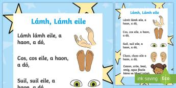 'Lámh, Lámh eile' Rhyme Gaeilge - hand, body, cos, leg, eye, suil, corp, mé féin,Irish
