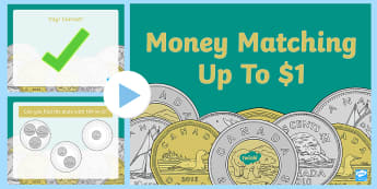 Money Matching Up To $1 PowerPoint Game - Canada KS1 Maths Resource Movement, canada, canadian money, money, coins, dollars, cents, currency,