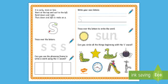 UAE EY 's' Sound Activity Mat - Letters and Sounds, grapheme, phoneme, satpin, letter formation, handwriting, EYFS,