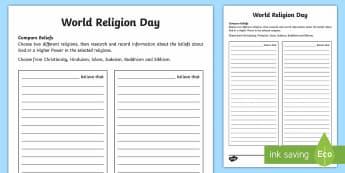 KS2 World Religion Day  Compare Beliefs Activity Sheet - KS2 World Religion Day, 15th Jan, beliefs, religious ideas, religion, Sikhism, Buddhism, Islam, Chri