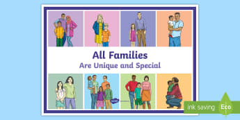 All Families Are Special and Different A4 Display Poster - young people, families, relationships, stereotypes, same sex parenting