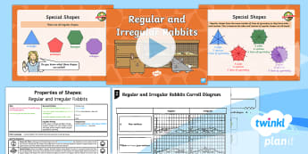 * NEW * PlanIt Maths Y2 Properties of Shapes Lesson Pack Comparing and Sorting (3)  - irregular, regular, polygon, quadrilateral, symmetry, maths mastery, concrete, abstract, pictorial,