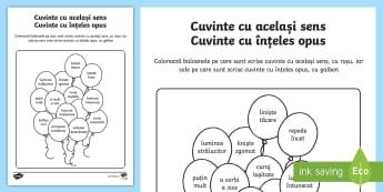 Sinonime și antonime pe baloane Fișă de lucru - 1 Iunie, fișă de lucru, joc, cuvinte, cu același sens, cuvinte cu înțeles opus, limba română,
