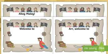 Pirate Themed Class Welcome Signs and Labels - pirate, welcome, sign, start of school, bulletin board, organization, door decor,