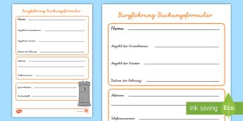 Burgführung Buchungsformular für Rollenspiele - Schloss, Führung, Sachkunde, Sachunterricht, HSU, HSK,,German