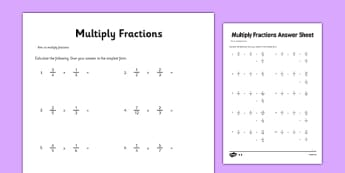 Year 6 Multiply Fractions Activity Sheet - maths, ks2, upper key stage 2, sats, , worksheet