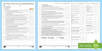 AQA (Trilogy) Unit 5.4 Chemical Changes Student Progress Sheet