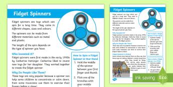 KS1 Fidget Spinners Fact Sheet -  Fidget Spinner Facts for Kids