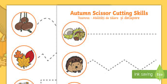 Autumn Cutting Skills Activity Sheet English/Romanian