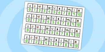 Number Track 0-10 to Support Teaching on Percy the Park Keeper - percy the park keeper