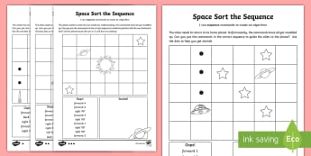 Space Sort the Sequence Differentiated Activity Sheet - worksheet, computing, program, algorithm, sequence, commands, plan, predict, coding, reorder, space
