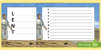 Lent Acrostic Poem English/German - Christianity, Carnival, EAL, German, fastenzeit