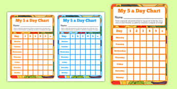 5 A Day Sticker Reward Chart - healthy eating, healthy food, healthy living, eating, food, diet, human body, fruit, veg, vegetables