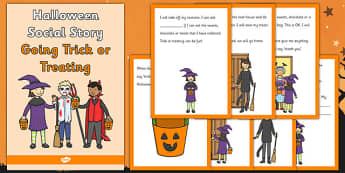 Halloween Social Situation Going Trick or Treating - halloween, social story, trick, treat