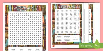 KS2 World Book Day Word Search -  david walliams, michael morpurgo, authors, reading, enid blyton, jacqueline wilson, anne fine, word