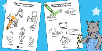 Words Colouring Sheet to Support Teaching on What's The Time, Mr Wolf? - colouring, colour