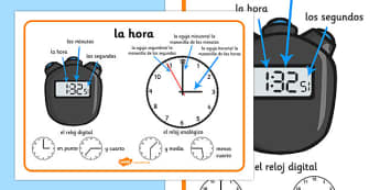 La hora Time Vocabulary Word Mat Spanish - spanish, time vocabulary, word mat, writing aid, mat, vocabulary, time, day, second, minute, hour, o'clock, half past, quarter to, quarter past, what time is it, analogue, digital
