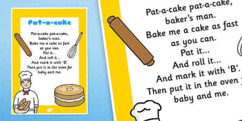 Pat a Cake Nursery Rhyme Poster - rhymes, display, songs, poems