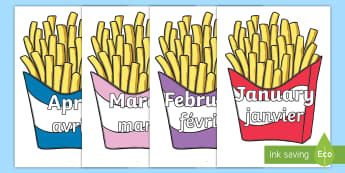 Months of the Year on French Fries Display Poster English/French  - January, months, time, year, fries, translation