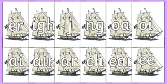 Phase 3 Phonemes on Pirate Ships - Phonemes, phoneme, Phase 3, Phase three, Foundation, Literacy, Letters and Sounds, DfES, display