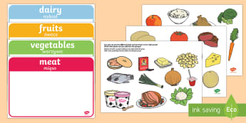 Food Group Sorting Activity English/Polish - matching cards, flashcards, grouping, dairy, vegetable, fruit, protein, grains,Polish-translation