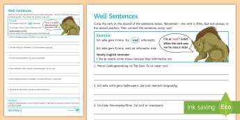 Conjunction Practice Using 'Weil' Activity Sheet German - Weil, KS3, KS4, Independent, Classwork, German,German