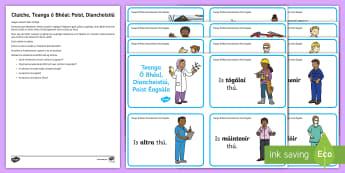 Hot Seat Jobs Oral Language Role-Play Challenge Cards Gaeilge, Poist Éagsúla, Teanga ó Bhéal - drámaíocht, drama, Teanga Ó Bhéal, Oral Language, Gaeilge Ó Bhéal, Oral Irish, Gníomhaíochta