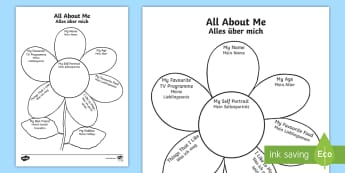 All About Me Flower Writing Template English/German - Ourselves, new, year, class, EAL, German, English-German,,German-translation