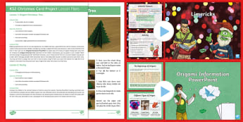 KS2 Christmas Card Craft And Poetry Lesson Plans Resource Pack - limericks, ks2 christmas project, origami, origami instructions, Origami Christmas Tree.