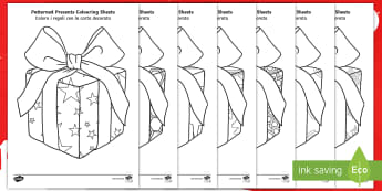Patterned Presents Colouring Pages English/Italian - Patterned Presents Colouring Sheets - patterned presents, colouring sheets, christmas colouring shee
