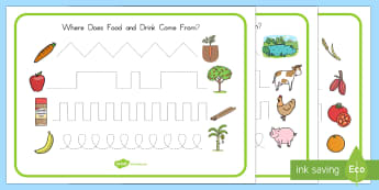 Where Does Food and Water Come From? Pencil Control Worksheets