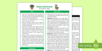 Plants and Growth Fact Sheet for Adults - EYFS, Early Years, KS1, plants, flowers, seeds, parts of a plant, roots, life cycle, grow, growth, growing, science, understanding the world
