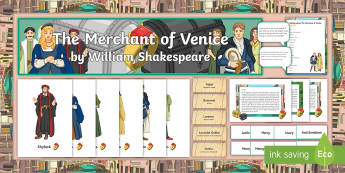The Merchant of Venice Display Pack  - The Merchant of Venice, Shakespeare, vocabulary, display, Bassanio, Portia, Shylock, shakespeare, di