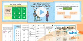 PlanIt Y1 Term 2B W4: Split Digraph 'u-e' Spelling Pack - Spellings Year 1,2 Term 2B, W4, split digraph, u-e