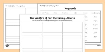 Alberta's Wildfire Retelling the Events of the Fire in Fort McMurray Writing Frames - canada, Alberta, wildfire, fire, natural disaster, communication, speaking, discussion