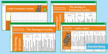 Twinkl Handwriting Coverage and Assessment Pack - handwriting, coverage, handwriting tracker, tracker,  handwriting user guide, the journey to, joined
