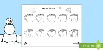 Winter Numbers 1-10 Tracing Activity Sheet - worksheets, Seasons, Number Tracing, winter math, math activity sheet, winter activity sheet