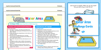 Water Area Continuous Provision Poster and Challenge Cards Pack Nursery FS1 - continuous