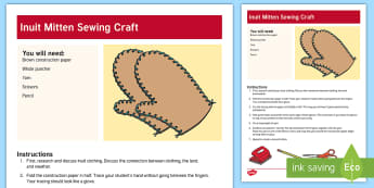 Inuit Mitten Sewing Craft - Inuit, Indigenous Peoples Day, Sewing, Mitten, Glove, Craft, Native American, First Nations