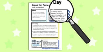 Jeans for Genes Day Information Sheet - Primary Resources, writing frame, writing template, children, free, kids, worksheets, how to write, literacy