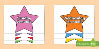 Multicoloured Stars Days of the Week English/Italian - Multicoloured Stars Days of the Week - stars, days, week, pack, days of the wek, days pf the week, d