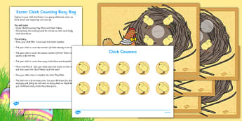 Easter Chick Counting Busy Bag and Resource Pack For Parents - Easter, chicks, counting, busy bag, parents, counting to 5