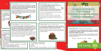 Fractions and Decimals Word Problems Christmas Maths Challenge Cards English/French - Christmas Maths KS2, Y5, Year 5, Y6, Year 6, fractions, decimals, word problems, EAL French,French-t