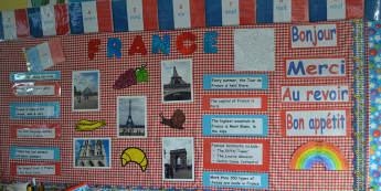 Geography, France, Bonjour, Merci, Bon Appetit, Paris, Eiffel Tower, Display, Classroom Display, Early Years (EYFS), KS1 & KS2 Primary Teaching Resources