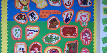 Ourselves, Class Paintings, Paintings, Self Portraits, faces, Display, Classroom Display, Early Years (EYFS), KS1 & KS2 Primary Teaching Resources