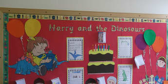 Stories and Tales, Harry and the Dinosaurs, Cakes, Dinosaurs, Balloon, Display, Classroom Display, Early Years (EYFS), KS1 & KS2 Primary Teaching Resources