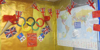 Olympics Display, classroom display, class display, London 2012, Olympics, London, countries, sport, Early Years (EYFS), KS1 & KS2 Primary Resources