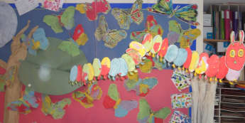 Caterpillar and butterfly Display, classroom displays, class display, Minibeasts, minibeast, caterpillar, Early Years (EYFS), KS1 & KS2 Primary Resource