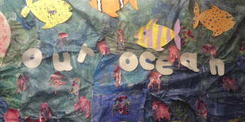 Our Ocean Display, Classroom Display, Class display, seaside, sea, shark, octopus, water, shell, Early Years (EYFS), KS1 & KS2 Primary Teaching Resources